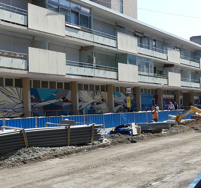 Tram Annemasse Genève : mur de soutènement
